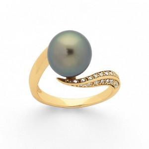 Bague Perle de Tahiti 10mm et Diamants 0,10 Carat G SI Or jaune
