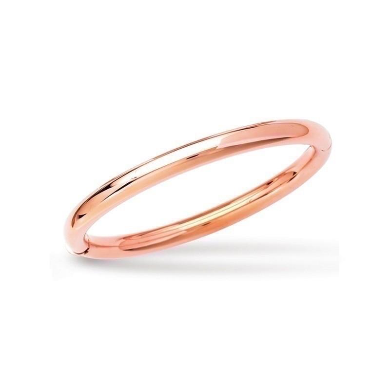 Bracelet rigide fil rond 58mm forme ovale Or rose