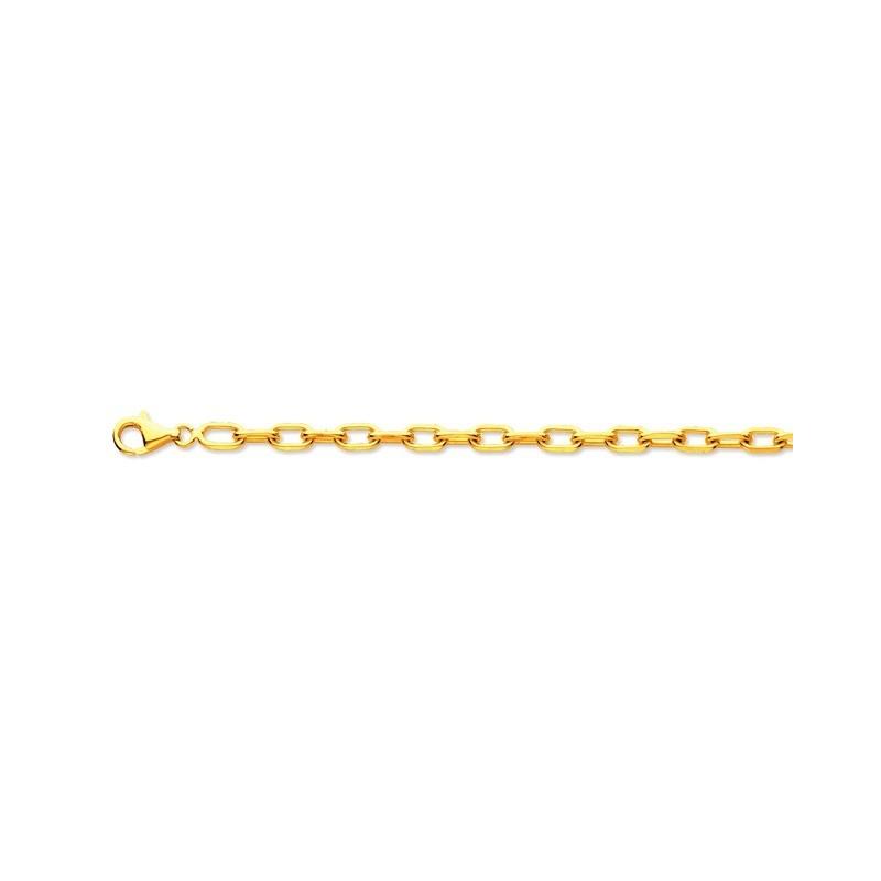 Bracelet mailles Forçat limé Homme 5mm 21 cm Or jaune