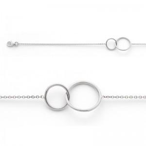 Bracelet avec motif 2 Cercles 10mm et 14mm Or blanc