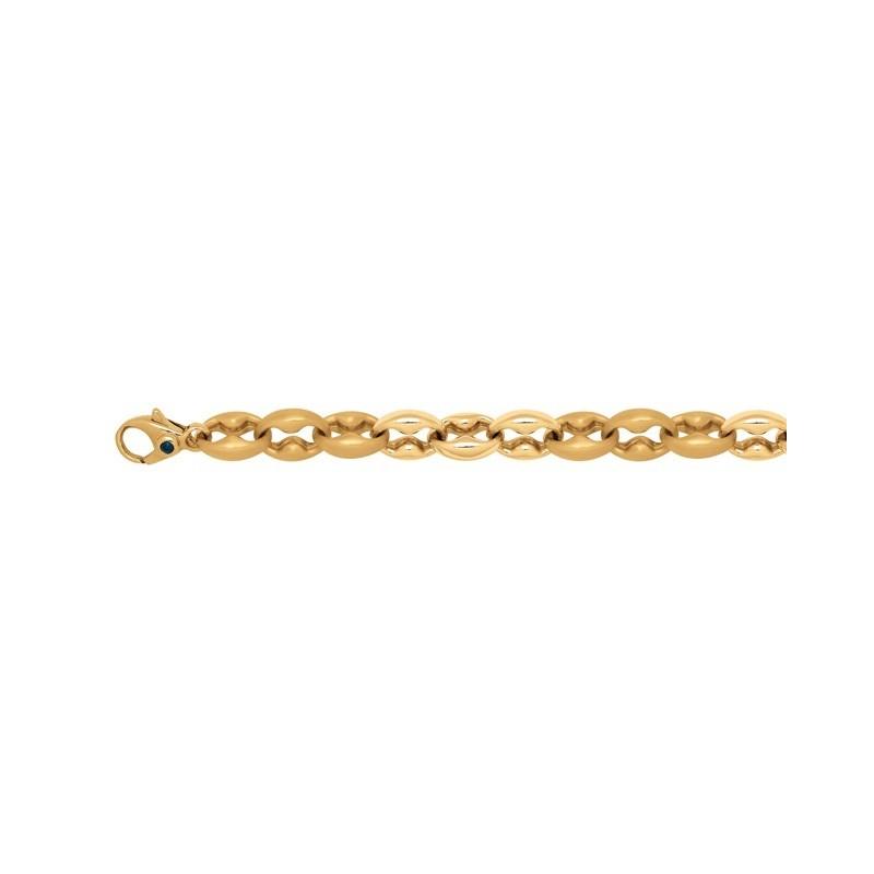 Bracelet mailles Petites Coques satinées/polies 9mm Or jaune