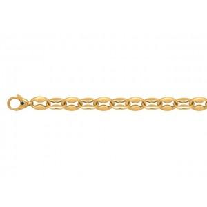Bracelet mailles Petites Coques satinées/polies 7,5mm Or jaune
