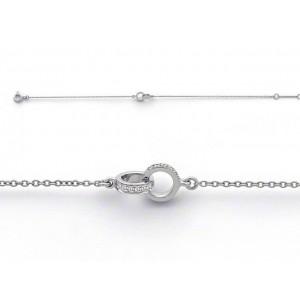"""Bracelet joaillerie Diamants 0,11 Carat G SI """"Je te tiens"""" Or blanc"""