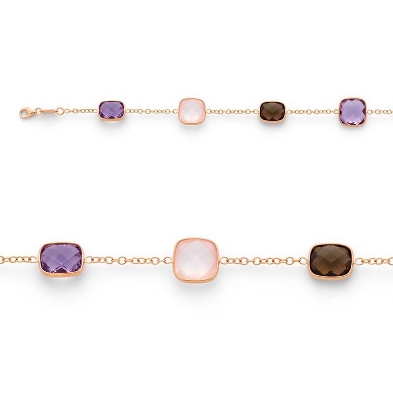 Bracelet Améthyste, Quartz rose et Quartz fumé Or rose