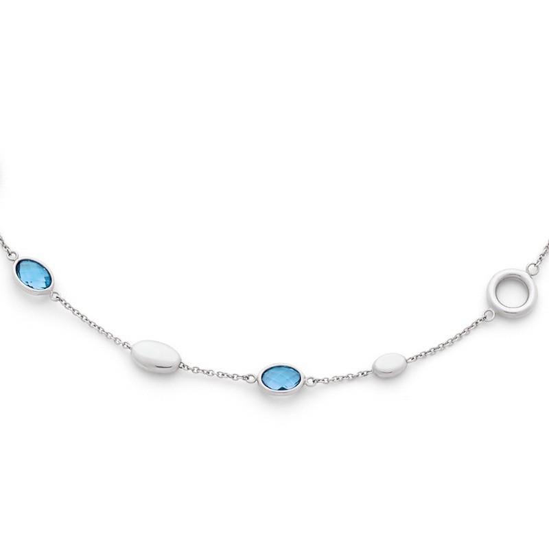 Collier Topazes bleues et motifs Or blanc