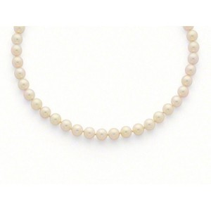 Collier Perles de culture Choker Akoya Japon blanc-rosé 7,5-8 mm