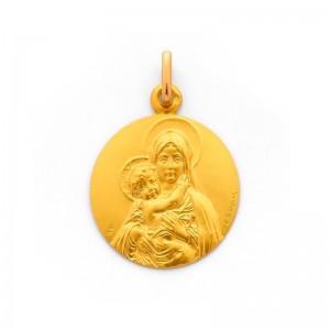 Médaille Vierge à l'Enfant de face 18mm Or jaune