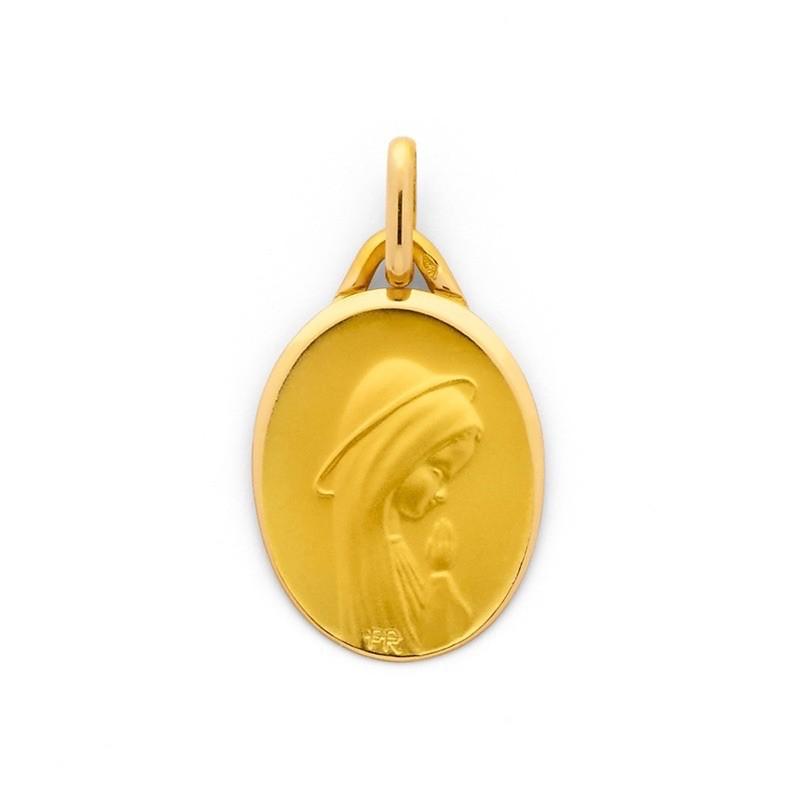 Médaille Vierge ovale en prière 19mm Or jaune