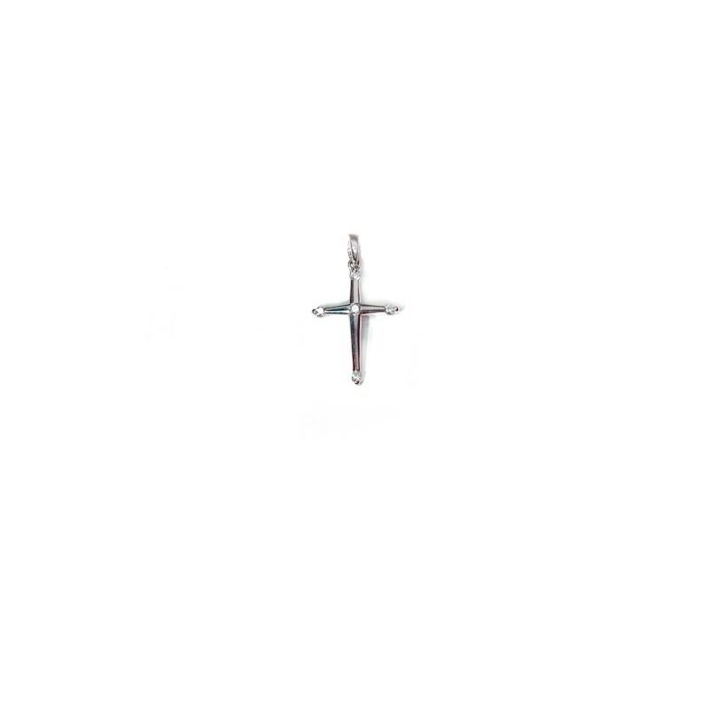 Croix 16mm sertie de 5 Diamants 0,06 Carat H SI Or blanc