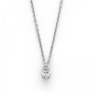 Pendentif Diamant 0,20 Carat G SI2 taille poire Or blanc