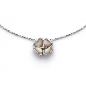 """Pendentif Diamants 0,25 Carat et nacre rose """"Primavera"""" Or blanc"""