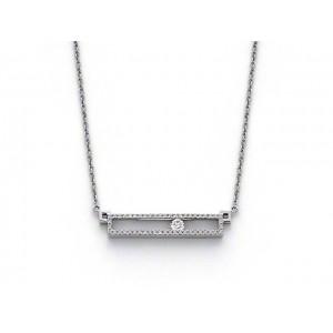 Pendentif Diamants et Diamant centre mobile Or blanc