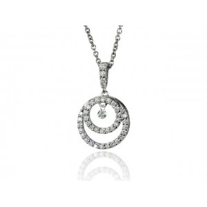 "Pendentif Diamants 0,31 Carat H SI ""Double Bulles en Diamants"" Or blanc"