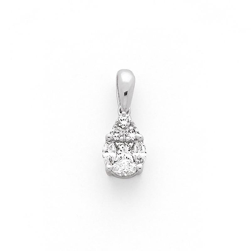 Pendentif Diamants 0,30 Carat forme poire pavage Or blanc