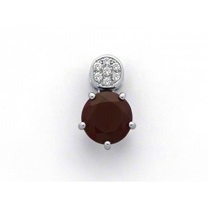 Pendentif Rhodolite 2,14 Carats et Diamants 0,07 Carat G VS Or blanc