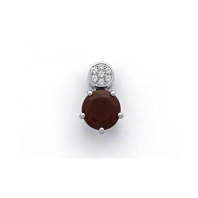 Pendentif Rhodolite 2,14 Carats et Diamants 0,07 Carat G VS Or blanc