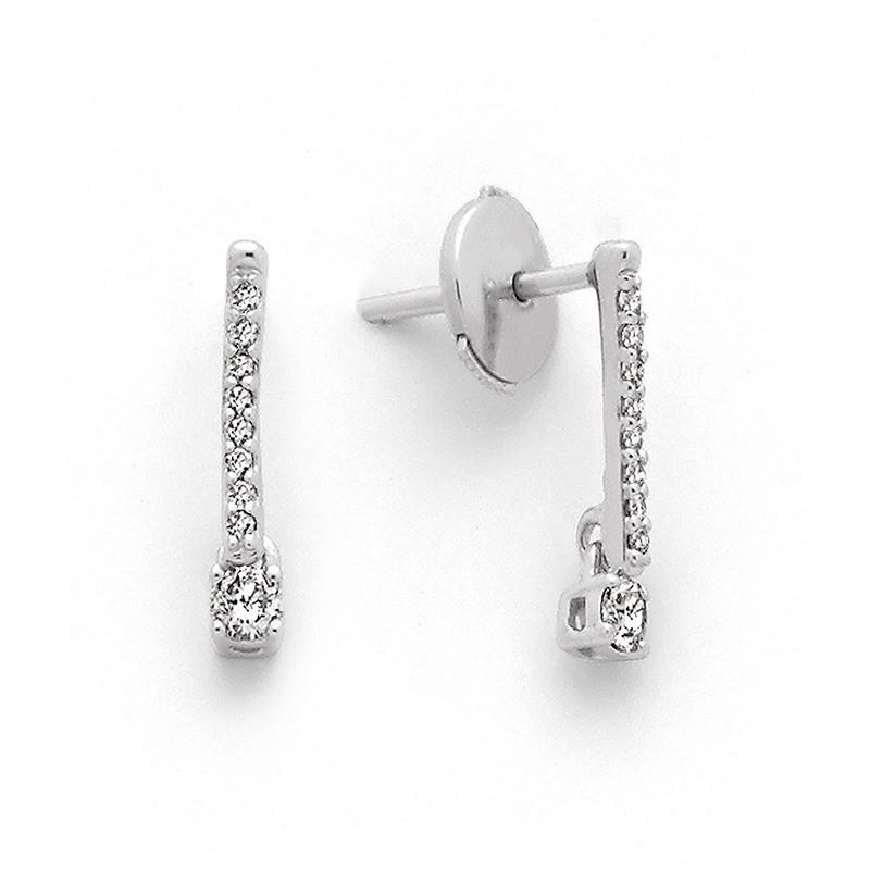 Boucles d'oreilles Diamants 0,18 Carat G SI Or blanc