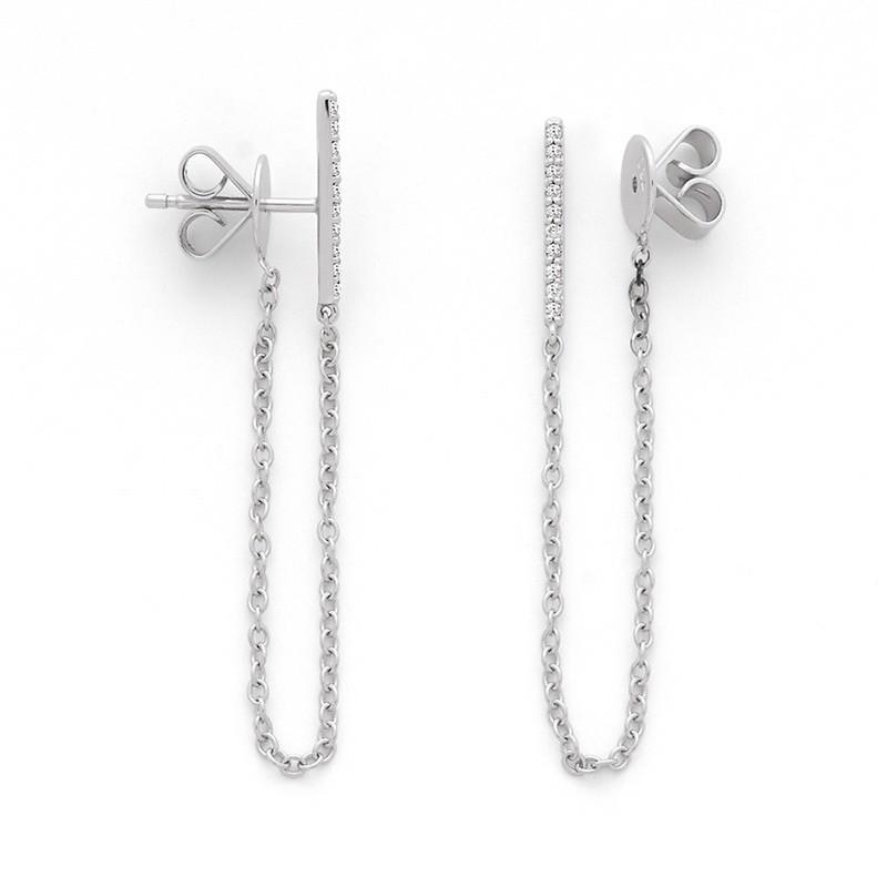 Boucles d'oreilles Diamants 0,10 Carat H SI sur chaine Or blanc