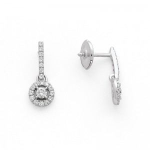 Boucles d'oreilles Diamants 0,60 Carat H SI Or blanc-1