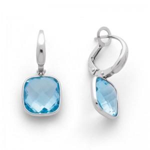 Boucles d'oreilles Topaze bleue Coussin facetté Or blanc