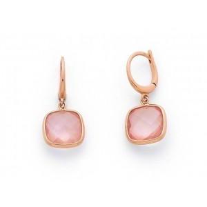 Boucles d'oreilles Quartz rose coussin facetté Or rose