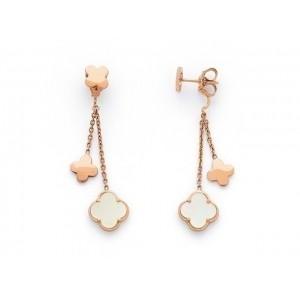 Boucles d'oreilles pierres fines 1 fleur Nacre 2 fleurs Or rose