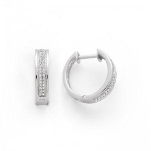 Créoles Diamants 0,20 carat H SI double rangs Or blanc