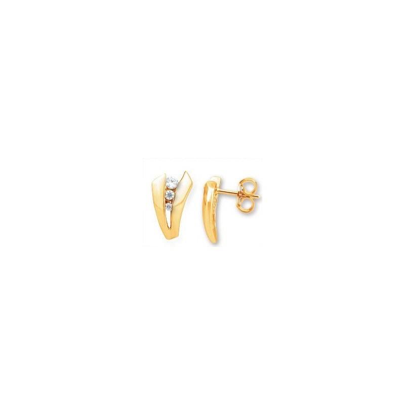 Boucles d'oreilles Diamants V 0,16 Carat G SI Or jaune