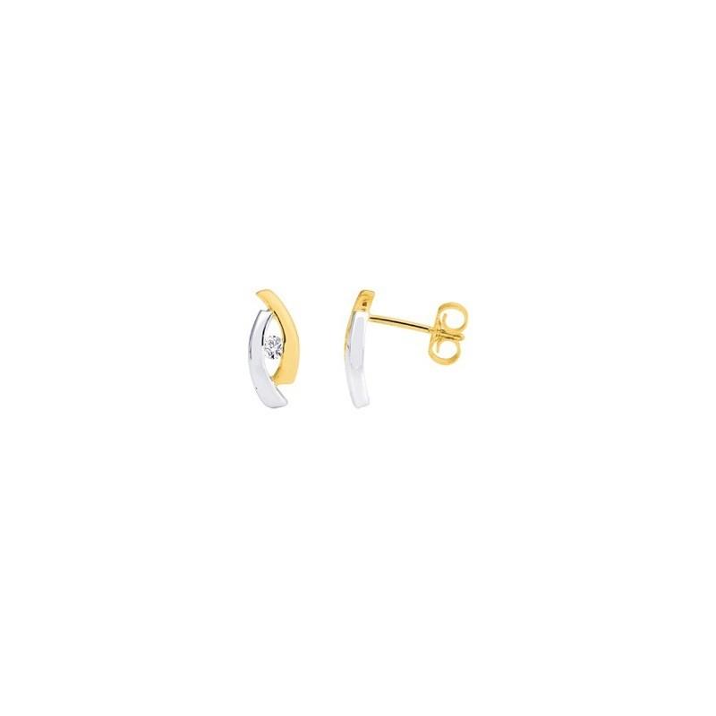 Boucles d'oreilles Diamants 0,08 Carat Or jaune et Or blanc