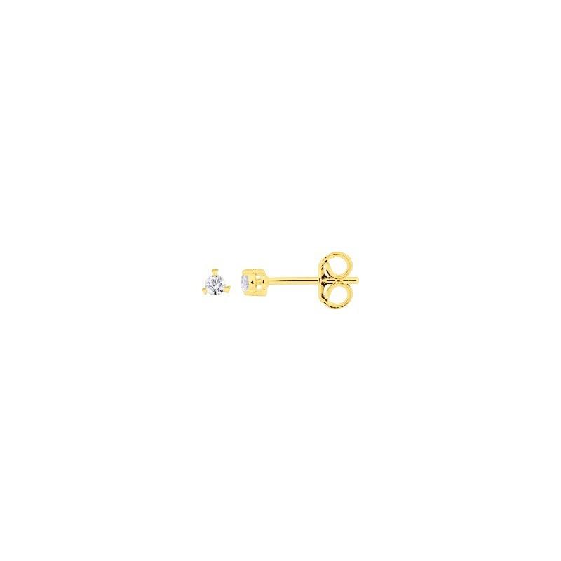 Boutons d'oreilles Diamants 0,08 Carat G SI 3 griffes Or jaune