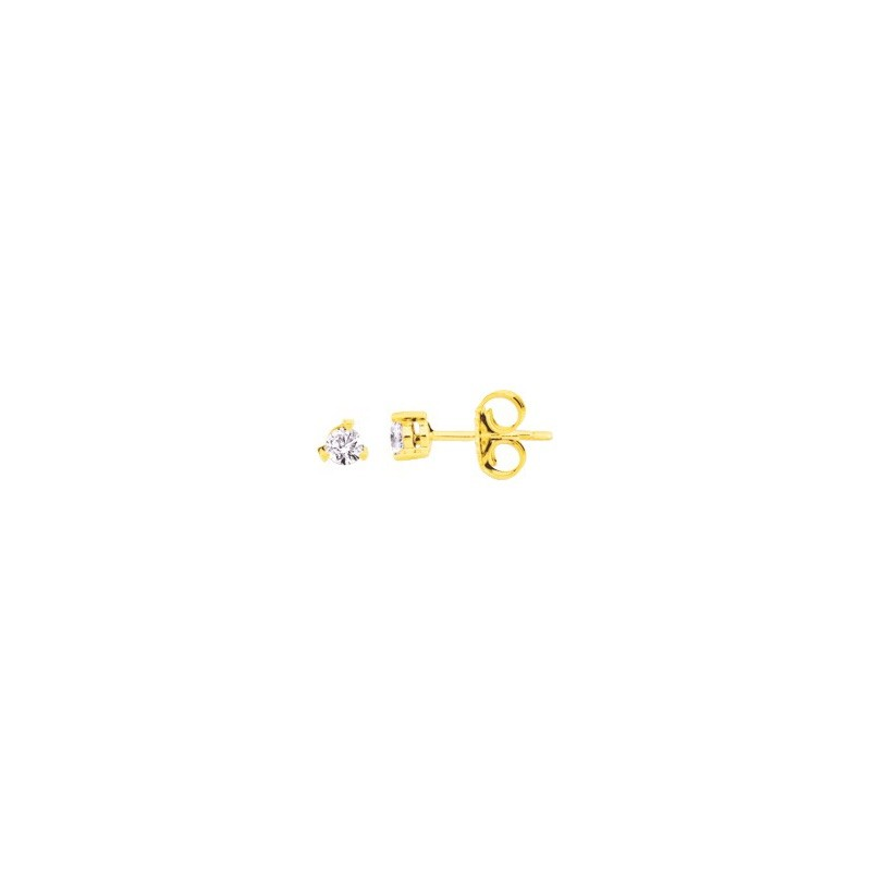 Boutons d'oreilles Diamants 0,12 Carat G SI 3 griffes Or jaune