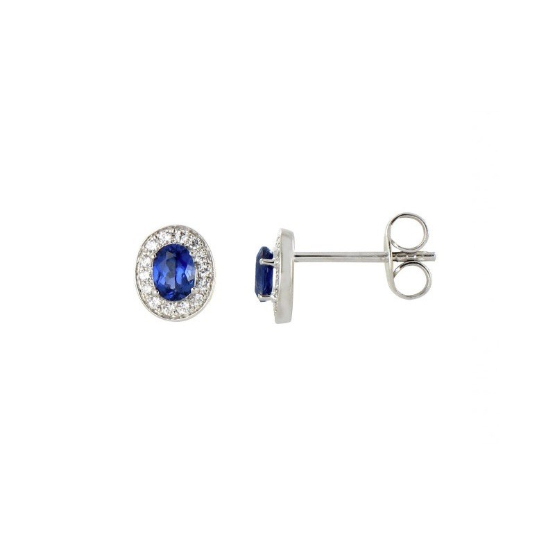 Boucles d'oreilles Saphirs 0,48 Carat entourage Diamants 0,09 Carat Or Blanc