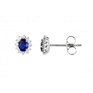 Boutons d'oreilles Saphirs 0,50 Carat entourage Diamants 0,12 Carat Or Blanc