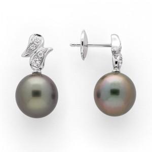 Boucles d'oreilles Perles de culture de Tahiti 10mm rondes Diamants Or blanc-1