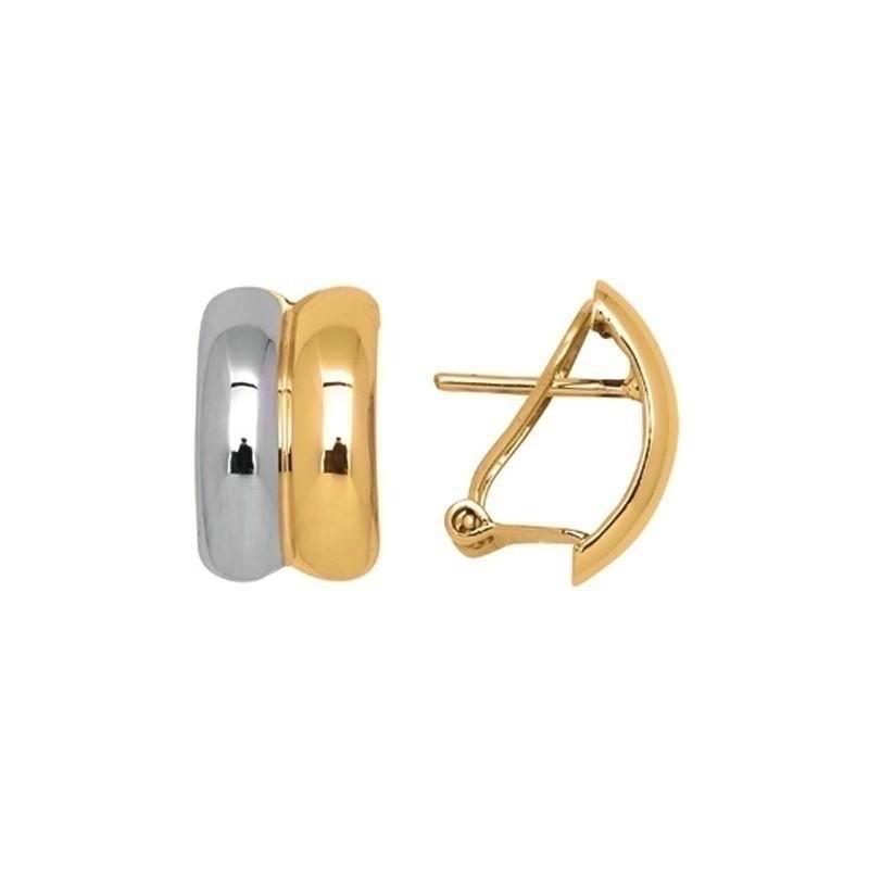 Boucles d'oreilles 2 cercles Or jaune et Or blanc