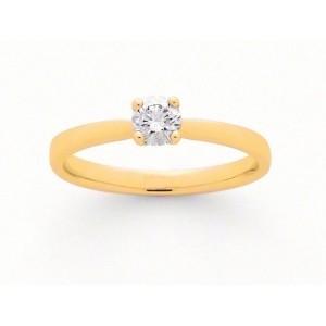 Solitaire Diamant 0,19 Carat F SI 4 griffes Or jaune