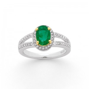 Bague Emeraude 0,89 Carat entourage Diamants 0,32 Carat G SI Or blanc et jaune
