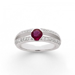 Bague Rubis 0,70 Carat et Diamants 0,36 Carat G VS Or blanc