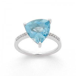 Bague Aigue-marine 2,52 Carats et Diamants 0,07 Carat G SI Or blanc