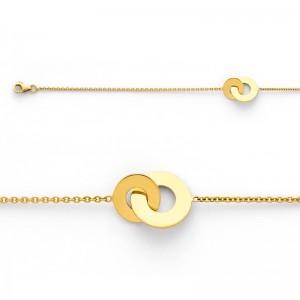 Bracelet avec motif 2 disques 10 et 14mm Or jaune