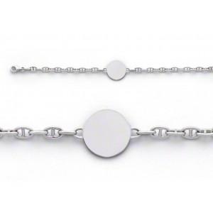 Bracelet identité bébé Maille Marine Or blanc