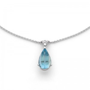 Pendentif Aigue-Marine 4,82 Carats et Diamants 0,20 Carat Or Blanc