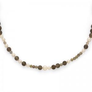 Sautoir Perles de culture Akoya japon, Perles Labradorite et Pierres de lune
