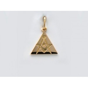 Pendentif symbolique Triangle gravé Compas, Equerre Or jaune