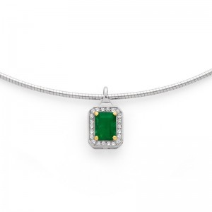 Pendentif Emeraude 1,11 Carats entourage Diamants 0,10 Carat G SI Or blanc
