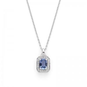 Pendentif Saphir 1,14 Carats entourage Diamants chaine forcat limée Or blanc