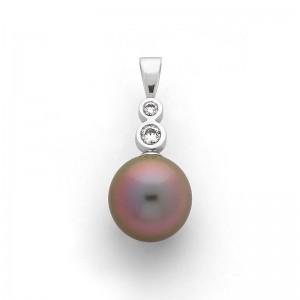Pendentif Perle de culture de Tahiti 13mm et Diamants 0,21 Carat G VS Or blanc