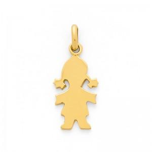 Pendentif silhouette Fille Or jaune