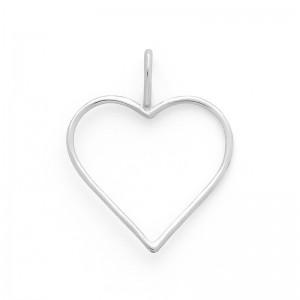 Pendentif cœur fil 22mm Or blanc