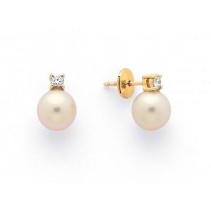 Boucles d'oreilles Perles de culture Akoya Japon ronde 5-5,5mm Or jaune Diamants